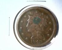 1849 LIBERTY / BRAIDED HAIR LARGE CENT    GOOD DETAILS    CORROSION