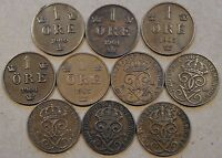 SWEDEN 10 ONE ORE 1900,01,03,04,05,09,10,11,13,23 MID BETTER GRADE AS PICTURED