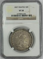 1807 50C DRAPED BUST HALF DOLLAR - TYPE 2, LARGE EAGLE - NGC VF30