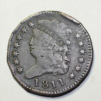 1811 CLASSIC HEAD 1/2C  HALF CENT CIRCULATED LOW MINGTAGE  COIN