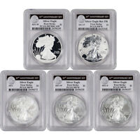 2011 AMERICAN SILVER EAGLE 25TH ANNIVERSARY 5 PC SET PCGS MS70 PR70 FIRST STRIKE