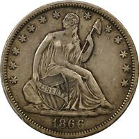 1866 S 50C NO MOTTO LIBERTY SEATED HALF DOLLAR PCGS XF40
