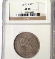 1870 S  SEATED LIBERTY HALF  NGC  XF 45  RARITY RATES WITH THE 1874 CC
