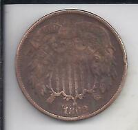 1868 TWO CENT COPPER,  TYPE COIN, NO RESERVE, BETTER CONDITION SHIPS FREE