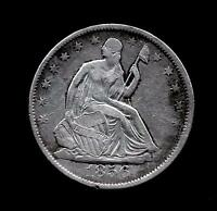 1856 6/6 OVER DATE SEATED LIBERTY SILVER HALF DOLLAR