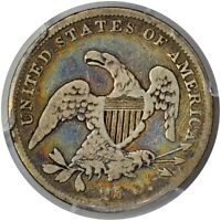 1837 PCGS G06 ALBUM TONED 25C. BOTH SIDES AWESOME COLOR.