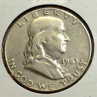 1963 D FRANKLIN SILVER HALF DOLLAR FROM OLD TYPE COIN COLLECTION