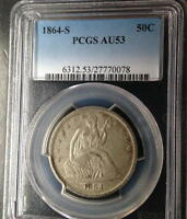 1864 S  SEATED LIBERTY HALF  PCGS  AU 53 RARITY RATES BETTER THEN THE 1873 CC