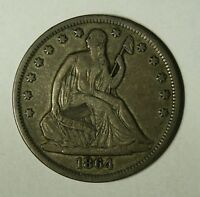 1864 S  SEATED LIBERTY HALF  CHOICE  VF RECENTLY REDUCED