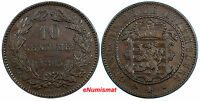 LUXEMBOURG WILLIAM III BRONZE 1865A 10 CENTIMES XF CONDITION KM 23.2 BROWN