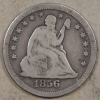 1856 O LIBERTY SEATED QUARTER NICE ORIGINAL VG