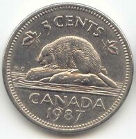 CANADA 1987 CANADIAN NICKEL 5C FIVE CENT PIECE 5 CENTS EXACT COIN SHOWN