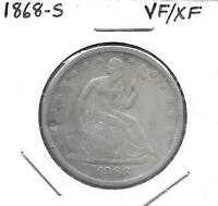 1868 S  SEATED HALF DOLLARVF OBV. XF REV  LIGHTLY CLEANED LONG AGO