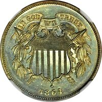 1864 2C LARGE MOTTO TWO CENT NGC PR66RB