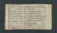 1771 NORTH CAROLINA TWO SHILLINGS AND SIX PENCE COLONIAL CURRENCY