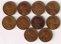 TEN DENVER MINT LINCOLN WHEAT CENT LOT. 1911 D TO 1922 D. FINE OR BETTER.