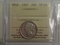 1900 NEWFOUNDLAND 20 CENT SILVER COIN   ICCS CERTIFIED VF 20