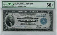 1918 $1 FEDERAL RESERVE BANK NOTE FRBN PHILADELPHIA PMG CHOICE AU 58 EPQ FR. 717