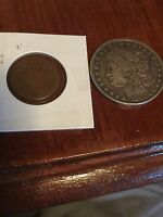1880 MORGAN SILVER DOLLAR 1865 2 CENT PIECD DOUBLE ERROR COIN LOT