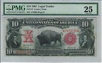 1901 $10 LEGAL TENDER BISON NOTE SMALL RED SCALLOPED SEAL PMG VF 25 FR. 115