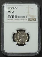 1957 D JEFFERSON NICKEL 5 CENT NGC GRADED CERTIFIED MS66 SLABBED  11062