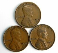 LOT OF 3 1933 D 1C LINCOLN WHEAT CENT PENNIES F/F 63648