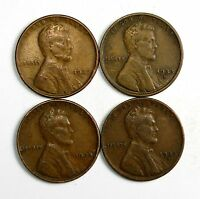 LOT OF 4 1933 D 1C LINCOLN WHEAT CENT PENNIES F/F W/MINOR BLEMISHES 63599