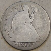 1853 O LIBERTY SEATED HALF DOLLAR ARROWS AND RAYS DECENT AG/VG LIGHT GRAY COIN