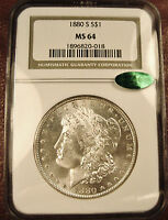 1880 S MORGAN MS64 NGC  CAC  CAC GREEN  WHITE FROSTY & MINT  FREE S/H