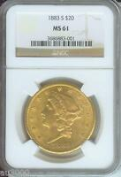 1883 S $20 LIBERTY NGC MS61 SAN FRANCISCO DOUBLE EAGLE BETTER DATE COIN