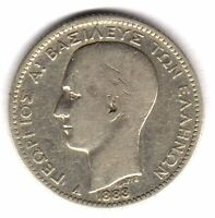 GREECE 1883 A 1 DRACHMA KM38 GEORGE I SILVER NICE COIN IN F CONDITION OR BETTER