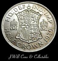 1939 GEORGE VI .500 SILVER HALF CROWN COIN   GREAT BRITAIN..