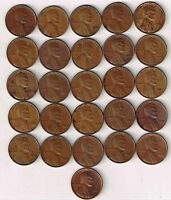 ONE HALF ROLL26 COINS COLLECTION OF XF 1932 P LINCOLN WHEAT CENTS. SEE SCANS.