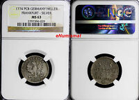 GERMAN STATES FRANKFURT SILVER 1774 PCB HELLER NGC MS63 KM PN56 TOP GRADED COIN