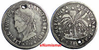 BOLIVIA SILVER 1860 FJ  4 SOLES ONE YEAR TYPE VF CONDITION HOLED  KM 139