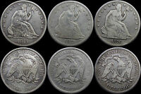 1875 1875 S & 1876 SEATED LIBERTY HALF DOLLARS   3 COINS