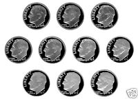 70'S ROOSEVELT CLAD PROOF DIMES 1970 1979 10 NICE PROOF COINS AUG03