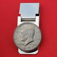 US 1977 KENNEDY HALF DOLLAR COIN HINGED MONEY CLIP NEW