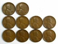 LOT OF 10 1925 D 1C LINCOLN WHEAT CENT PENNIES F/F WEAK REVERSE 62774