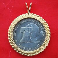 US EISENHOWER LIBERTY BELL MOON 1776 1976 BICENTENNIAL GOLD PLATED PENSDANT NEW