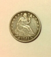 1854 SEATED LIBERTY SILVER HALF DOLLAR. EXCELLENT DETAILS.