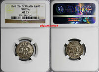 GERMAN STATES PRUSSIA 1741 EGN 1/48 THALER NGC MS63 TOP GRADED   KM 229