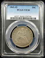 1841 O SEATED LIBERTY HALF DOLLAR PCGS VF30