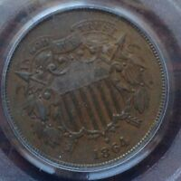 1864 LM TWO CENT PIECE PCGS MINT STATE 62 BN  EVEN BROWN VAULT SELECTIONS CHN