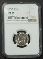 1957 D JEFFERSON NICKEL 5 CENT NGC GRADED CERTIFIED MS66 SLABBED  11061