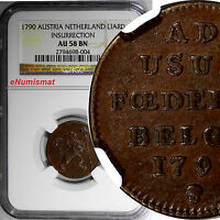 AUSTRIAN NETHERLANDS COPPER 1790 LIARD INSURRECTION NGC AU58 BN   KM 44