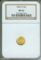 1853 O $1 TYPE 1 GOLD DOLLAR G$1 NGC MS62 MS 62 NEW ORLEANS MINT