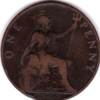 ONE PENNY 1900 UK GREAT BRITAIN LOOK
