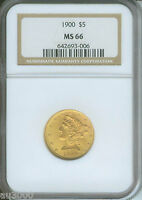 1900 $5 LIBERTY NGC MS66 MS 66  GOLD COIN