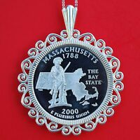 2000 MASSACHUSETTS STATE QUARTER 90 SILVER PROOF COIN STERLING SILVER NECKLACE
